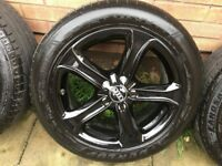 "AUDI A4 S4 A3 S3 Set 4x GENUINE 17"" BLACK HIGH GLOSS ALLOY WHEELS AND TYRES !!!"