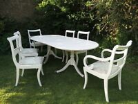 BEAUTIFUL SHABBY CHIC DINING TABLE AND CHAIRS WITH DESIGNER FABRIC