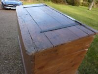 Antique pine chest, converted grain bin, huge capacity, waxed pine finish