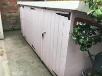 Garden shed bike storage unit