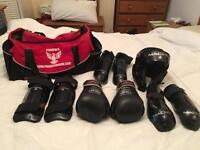 Martial arts kit - incls boxing gloves, head guard and more