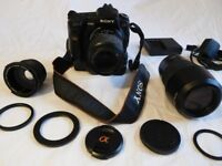 Sony Alpha A200 DSLR professional camera bundle including 2 extra lenses plus many extras. £225 ovno