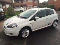 Sporty fiat grand punto GP, 3 dr, white, sports interior, low tax, cheap to insure. Great first car