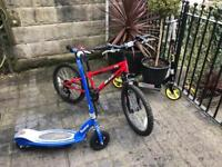 Kids Pack - motorised scooter, bike and scooter, suitable for ages 7-10
