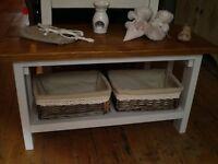 Bench with storage baskets