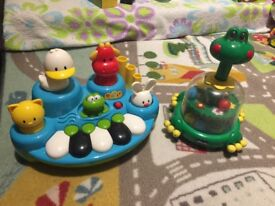 ELC musical toy and Chicco frog spinner