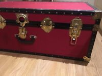 Red Traditional British Boarding School Storage Trunk