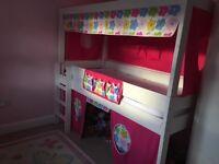 Children's Stompa high sleeper bed with Den underneath