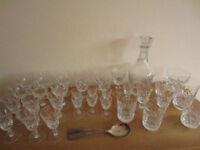 BRIERLY CRYSTAL GLASSES & DECANTER
