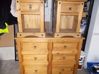 MEXICAN PINE SIDEBOARD/DRAWERS AND 2 BEDSIDE TABLES