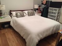 Double bed - bed frame (with storage) + mattress - in very good condition