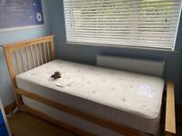 Solid wooden bed and trundle. (Oak) inc Mattresses