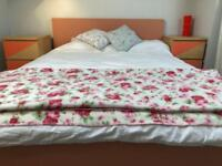 Oak veneer, Ikea malm double bed with mattress and two malm bed side tables