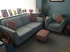 DFS Aurora 3 seater sofa and armchair in duck egg blue