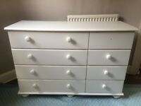 FREE Collection Only - Argos, MDF White Bedroom Drawers (missing 1 drawer handle)