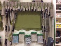 Curtains, pelmet, tie backs, blind & curtain track.