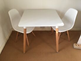 Small white dining table with 2 eiffel chairs - COLLECTION ONLY