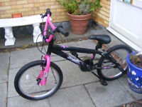 "GIRLS 20"" WHEEL BMX WITH STUNT PEGS HARDLY BEEN USED AGE 7+ NO RUST"