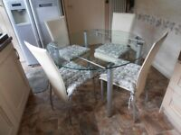 Glass Dining Table & Four Chairs