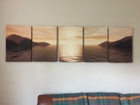 Canvas Print set of 5 Beautiful sunset and sea