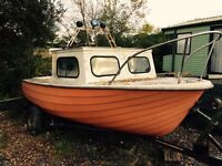 Fishing boat for sale need repainting, with trailer and engine
