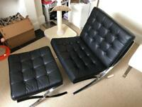 Black Barcelona Chair and Footstool