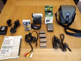 JVC Digital Movie camera with accessories.