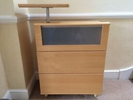 designer Hulsta Beach Chest of Drawers in great condition - removable television table
