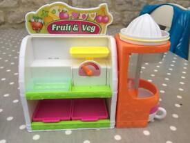 Bundle of Shopkins incl fridge and fruit and veg