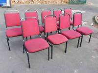 Chairs - Red Fabric Back & Seat and Black Metal Frame
