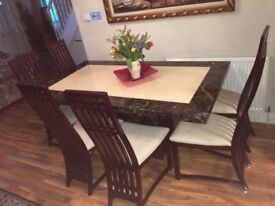 Harvey marble dining table with six beech wood chairs