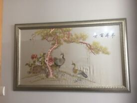 STUNNING CHINESE SILK PICTURES HAND EMBROIDERED BIRDS IMMACULATE CONDITION