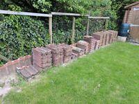 Concrete roofing tiles, double roman, reddish brown