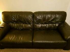 3 and 2 seater black leather suite