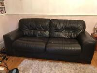 Two piece leather settee