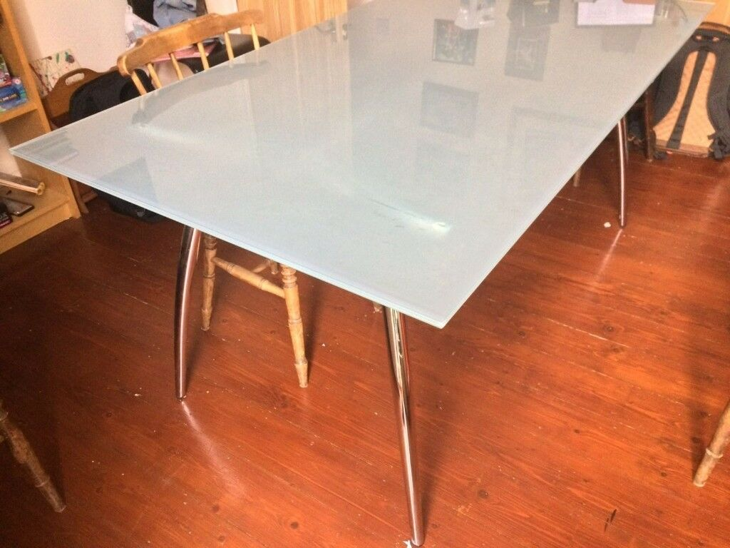 Glass & Chrome Dining Table