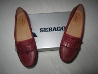 Ladies Sebago handcrafted red authentic moccasins, brand new / never worn, Size 5