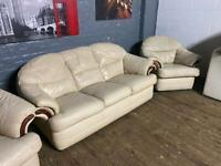 REAL LEATHER SOFA SET 3+1 SEATER IN GOOD CONDITION