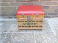 Rare Vintage Wicker fishing seat box