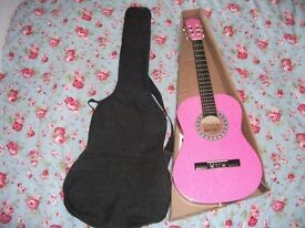 NEW ACOUSTIC PINK GUITAR IN BOX WITH BLACK CARRIER
