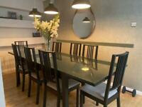 Large 260 x 100 table with glass top and 8 chairs