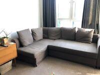 IKEA brown corner sofa bed with storage