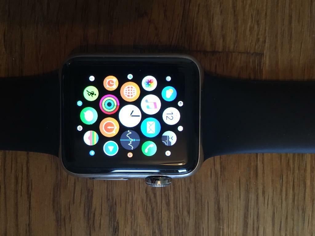 Apple Watch 38mm stainless steel case black sports bandin Rogerstone, NewportGumtree - S1P dual core processor Splash resistant1 Ion X glass OLED Retina display with Force Touch (450 nits) Composite back Digital Crown Heart rate sensor, accelerometer and gyroscope Ambient light sensor Speaker and microphone Wi Fi (802.11b/g/n 2.4GHz)...