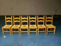 6 X solid oak dining table chairs ( item 4 )
