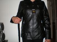 Brand new woman's eco-leather hood jacket