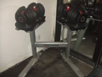 BOWFLEX DIAL A WEIGHT DUMBELLS WITH STAND