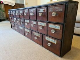 Antique apothecary chest of drawers, used in old pharmacy