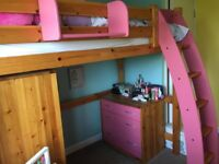 Scallywags Pine High Sleeper single bed, matching children's wardrobe & chest of drawers