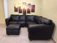 Big Brown Leather Corner Sofa