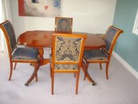 Solid yew extendable dining table + 4 chairs
